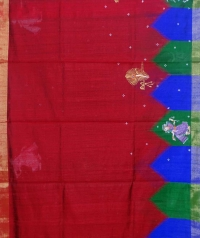 Red & black colour handwoven tussar silk saree