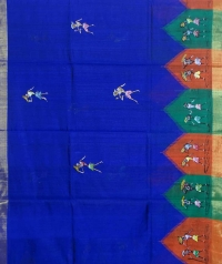 Navy blue & black  colour handwoven tussar silk saree