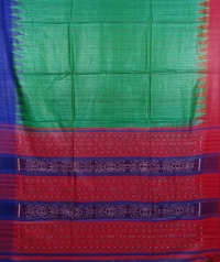 Leaf green, red & blue colour handwoven tussar silk saree