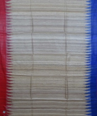 Beige, red & blue  colour handwoven tussar silk saree