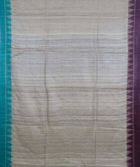 Beige, maroon & sky colour handwoven tussar silk saree