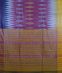 Maroon, yellow & blue colour handwoven tussar silk saree