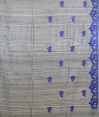 Beige & blue colour handwoven tussar silk saree