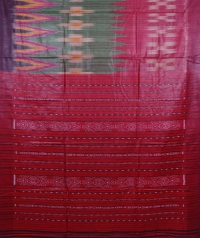 Green & red colour handwoven tussar silk saree