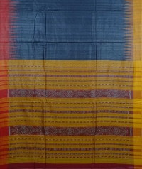 Aegean & yellow handwoven tussar silk saree