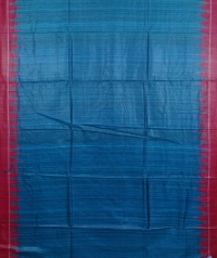 Steel blue & maroon handwoven tussar silk saree