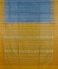 Slate gray & yellow handwoven tussar silk saree