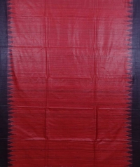Red & maroon colour handwoven tussar silk saree