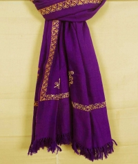 Violet and yellow handwoven cotton and wool mixed shawl