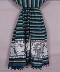 Teal green, black and white handwoven cotton and wool mixed shawl