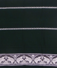 Green and white handwoven cotton and wool mixed shawl