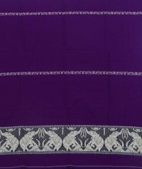 Violet and white handwoven cotton and wool mixed shawl