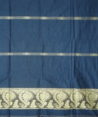 Air force blue and off white handwoven cotton and wool mixed shawl