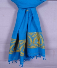 Sky blue and yellow handwoven cotton and wool mixed shawl