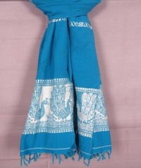 Sky blue and white handwoven cotton and wool mixed shawl