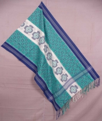 Green and white sambalpuri handwoven cotton stole