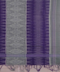 Gray and purple sambalpuri handwoven cotton stole