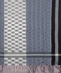 Gray and black sambalpuri handwoven cotton stole