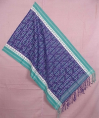 Indigo and green sambalpuri handwoven cotton stole