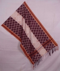 Maroon and white sambalpuri handwoven cotton stole