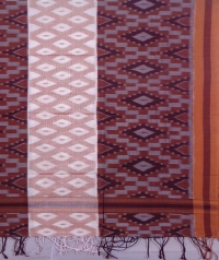 Maroon and brown sambalpuri handwoven cotton stole
