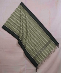 Moss and black sambalpuri handwoven cotton stole