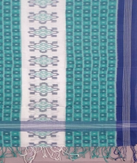 Green and blue sambalpuri handwoven cotton stole