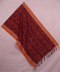 Maroon and dark brown sambalpuri handwoven cotton stole