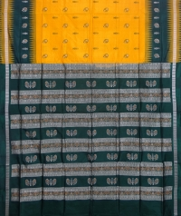 Yellow and Green colour handwoven bomkai silk saree