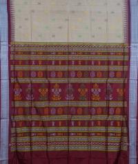 Beige and Maroon colour  handwoven bomkai silk saree
