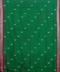 Green and Red colour  handwoven bomkai silk saree