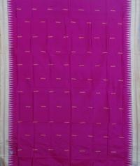 Pink and cream colour  handwoven bomkai silk saree