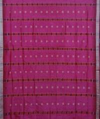 Ruby pink and maroon colour  handwoven bomkai silk saree