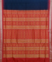 Black and red colour  handwoven bomkai silk saree
