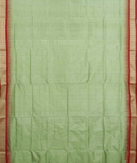 Mint green and red colour  handwoven bomkai silk saree