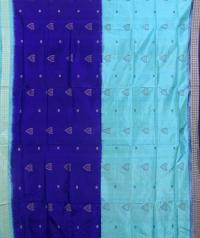 Sky blue and deep blue colour  handwoven bomkai silk saree