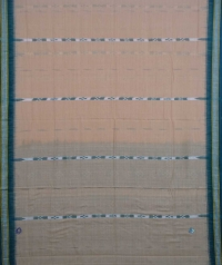 Beige and green sambalpuri handwoven cotton saree