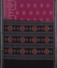 Cerise and black sambalpuri handwoven cotton saree