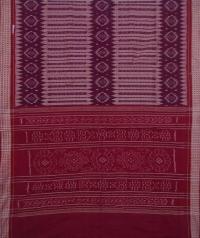 Mahogany and maroon sambalpuri handwoven cotton saree