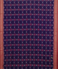 Violet and red sambalpuri handwoven cotton saree