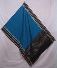 Teal blue and black sambalpuri handwoven cotton dupatta