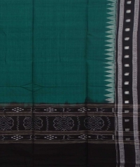 Green and black sambalpuri handwoven cotton dupatta