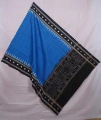Blue and black sambalpuri handwoven cotton dupatta