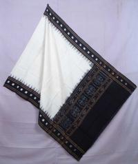 White and black sambalpuri handwoven cotton dupatta