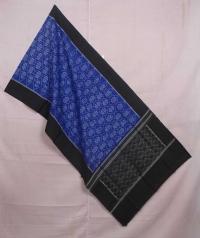 Blue and black sambalpuri handwoven cotton stole