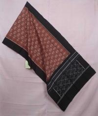 Walnut brown and black sambalpuri handwoven cotton stole