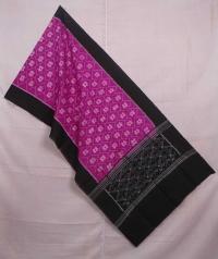 Magenta and black sambalpuri handwoven cotton stole