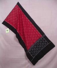 Red and black sambalpuri handwoven cotton stole
