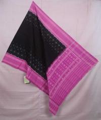 Black and pink sambalpuri handwoven cotton dupatta