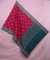 Maroon and green sambalpuri handwoven cotton dupatta